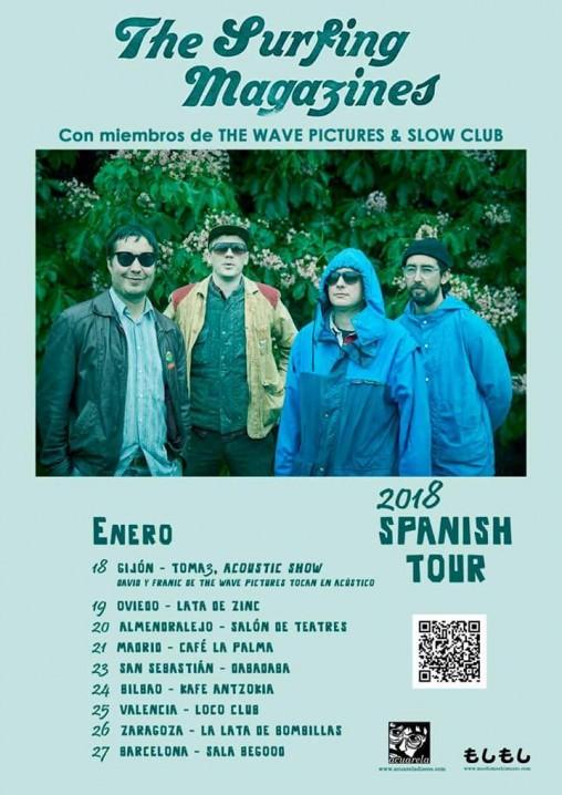 Cartel de la gira por España de The Sufing Magazines.