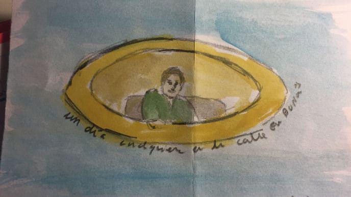Dibujo sobre papel de Ismael Teira. Imagen tomada sobre el mantel. Fotografiada con dispositivo móvil por alguno de los convocados makma.