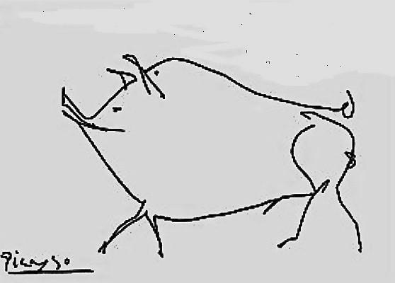 Dibujo sobre papel  firmado por Pablo Picasso. Fotografía, cortesía colección particualr.