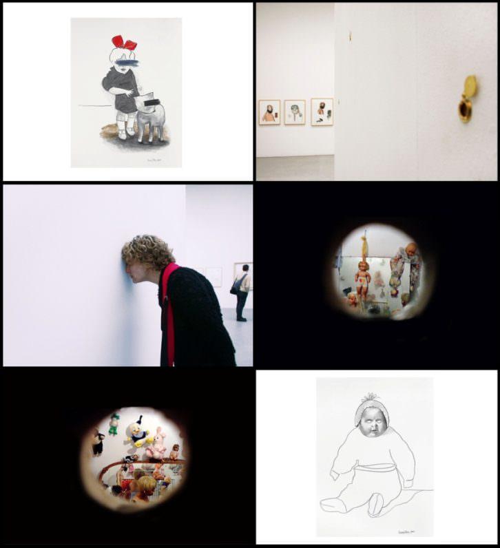 Montaje con algunas imágenes de la instalación. Imagen cortesía de la Galería Ana Serratosa.