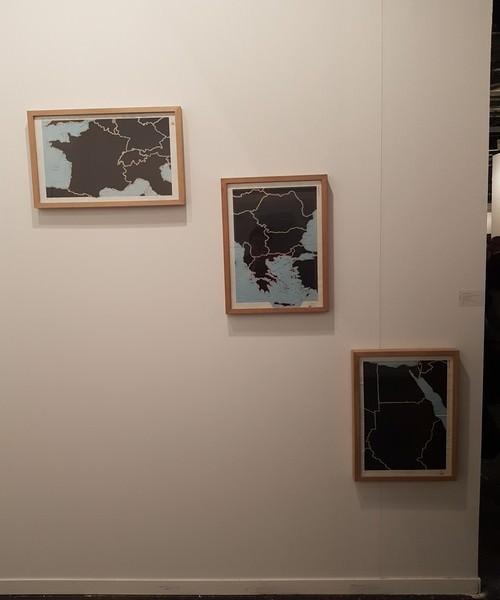 «Serie Atlas Mundial de Selecciones: Francia y los Alpes; Europa Sudoriental; Egipto y Sudán». Juan José Martín, 1979. Páginas de libros recortadas. 37 x 55 cm.