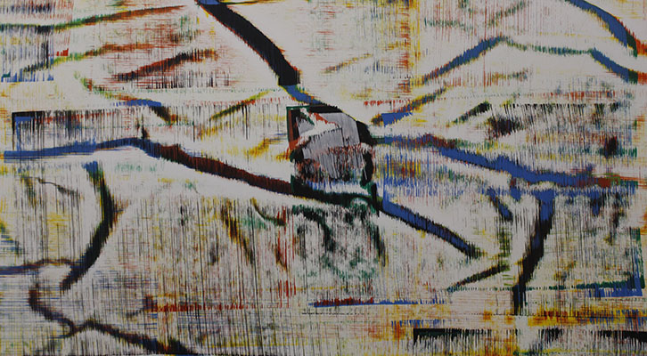 Antigesto (Rizomas), nº 11, 2018. Acrílico sobre lienzo 200 x 250 cm. Fotografía de Lucía Cajo Ferrando.