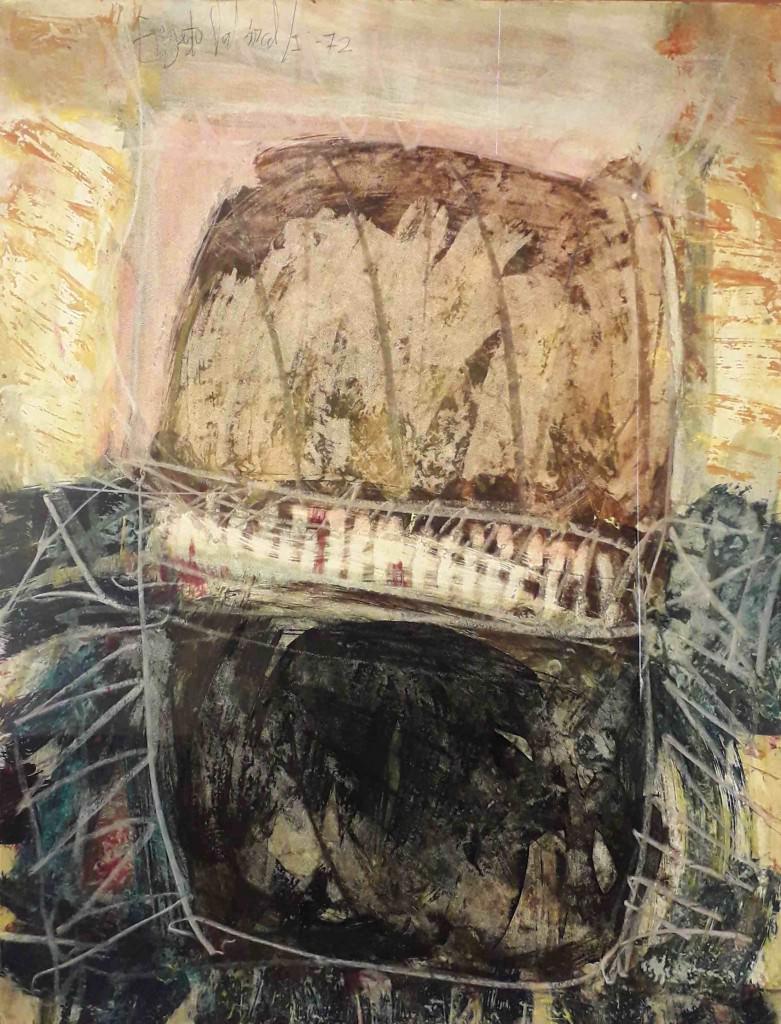 Imagen de una de las obras perteneciente a la serie 'Materia, ritmo y alquimia', de Ernesto Valcárcel. Fotografía cortesía de Galería de Arte Artizar.