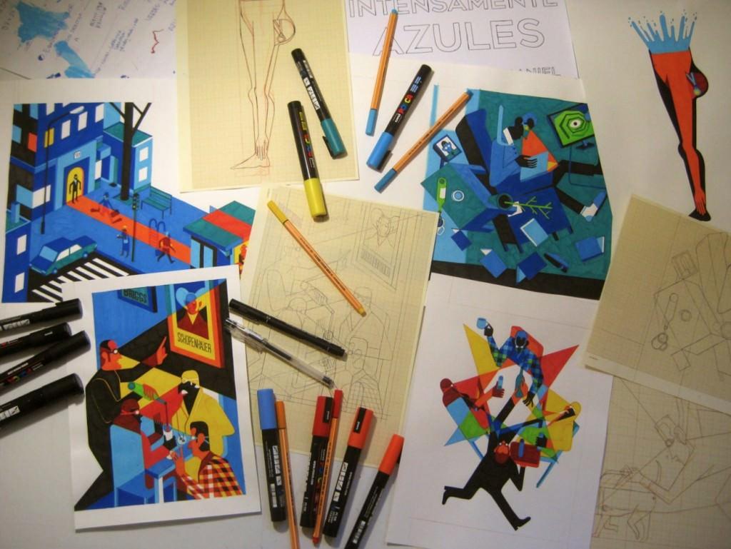Materiales de 'Azul intenso', de Daniel Montero. Imagen cortesía de Estudio 64.