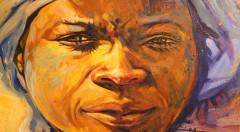 Faizah (victoriosa). Acrílico y óleo sobre tabla, 85 x 85 cm. Fotografía de Lucía Cajo Ferrando.