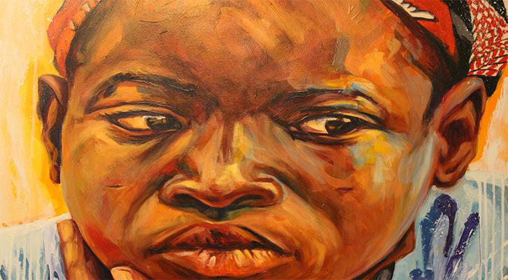 Aluna (acercamiento). Acrílico y óleo sobre tabla, 76 x 66 cm. Fotografía de Lucía Cajo Ferrando.