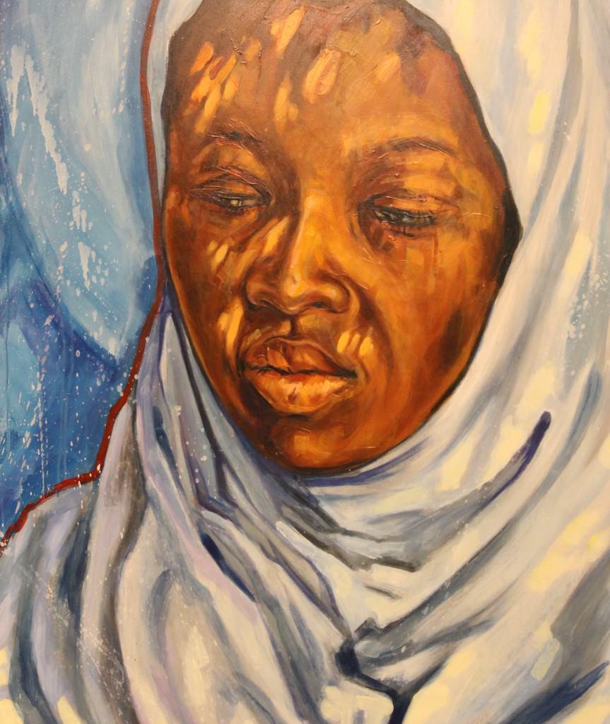 Malaika (ángel). Acrílico y óleo sobre tabla, 109 x 95 cm. Fotografía de Lucía Cajo Ferrando.