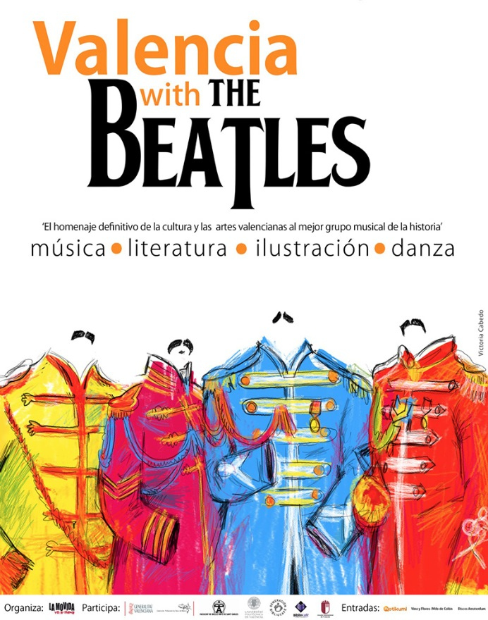 Cartel del festival Valencia With The Beatles, con ilustración de Victoria Cabedo.
