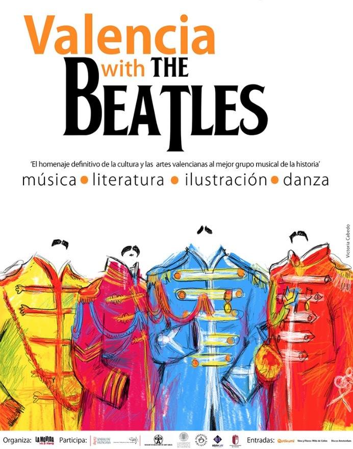 Cartel del festival Valencia With The Beatles, con ilustración de Victoria Cabedo.