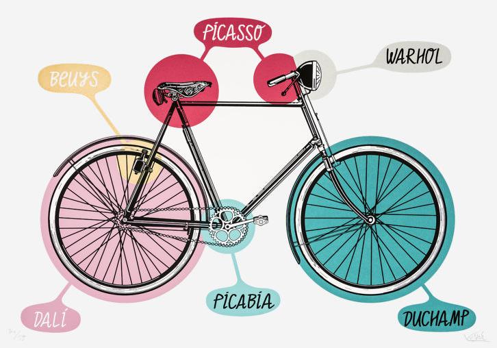 BICYCLE, en esta obra se nos muestra las distintas influencias de las que bebe Joan Verdú, las cuales marcan su camino. Imagen cortesía del Museo de Obra Gráfica de San Clemente.