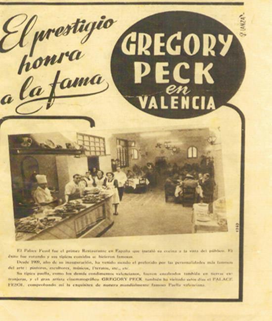Extracto del Periódico Lanza, visita del actor estadounidense Gregory Peck, año 1953. Imagen cortesía del restaurante Palace Fesol.
