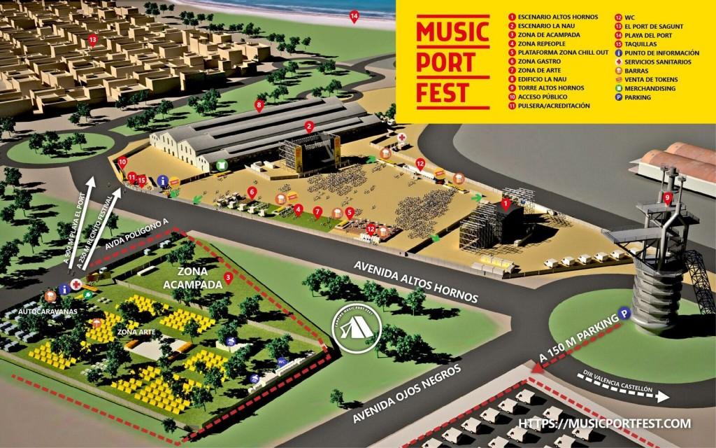 Plano de la ubicación de Music Port Fest. Imagen cortesía de la organización.