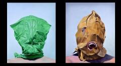 Imagen de las obras 'El hombre que sonríefugio' y 'Víctima o verdugo?', de Jesús Molinera. Fotografía cortesía de Factoryart.