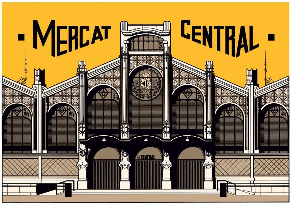 Mercat Central, ilustración de César Sebastián. Imagen cortesía de La Cabina.