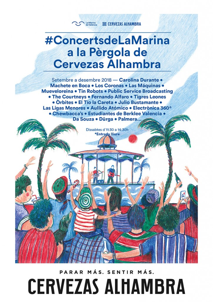 Cartel de los conciertos de La Pérgola en La Marina de Valencia.