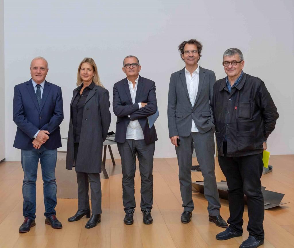 De izda a dcha, Albert Girona, Iwona Blazwick, José Miguel Cortés, Sjarel Ex y Jean François Chougnet. Imagen cortesía del IVAM