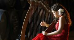 La arpista Ana Crismán Arpajonda durante uno de sus conciertos. Fotografía: Esme Cote (cortesía de Fundación Cañada Blanch).