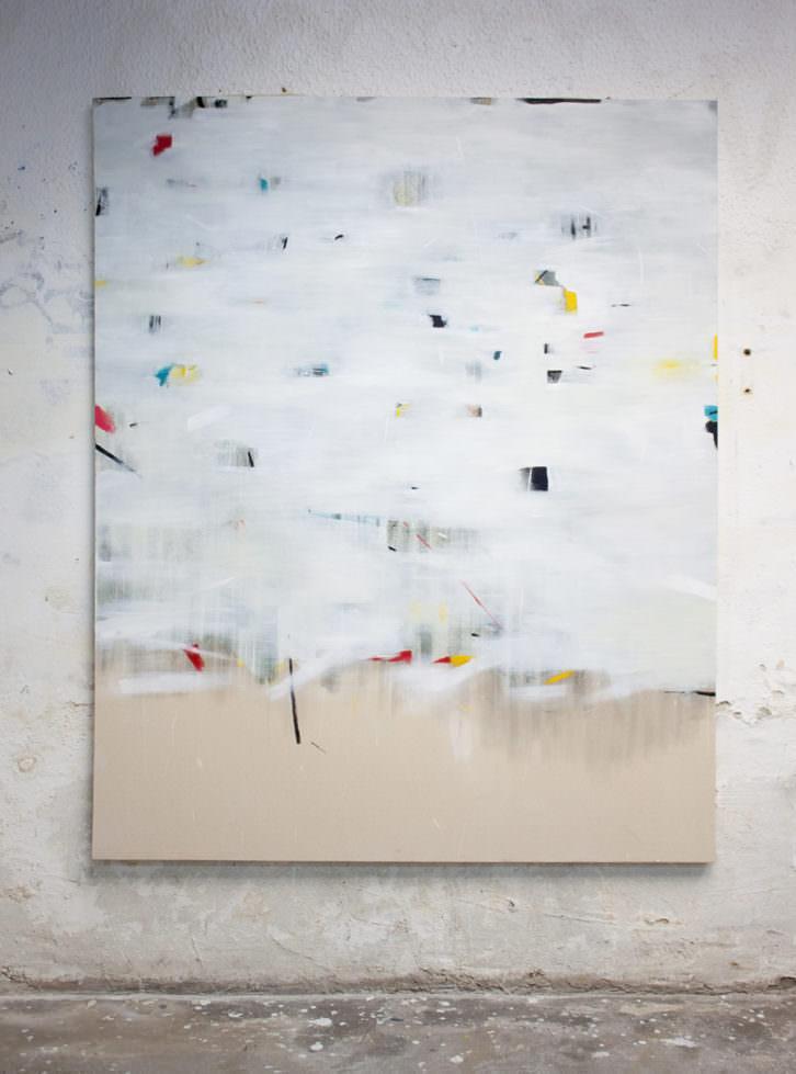 Carmen Jiménez. Descifrar I, (Notas al pie). 2018. Óleo sobre lona 162 x 130 cm