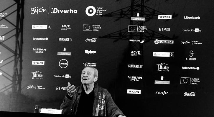 Juan Diego, durante un instante del encuentro con la prensa y público en el 56 FICX. Fotografía: Merche Medina.