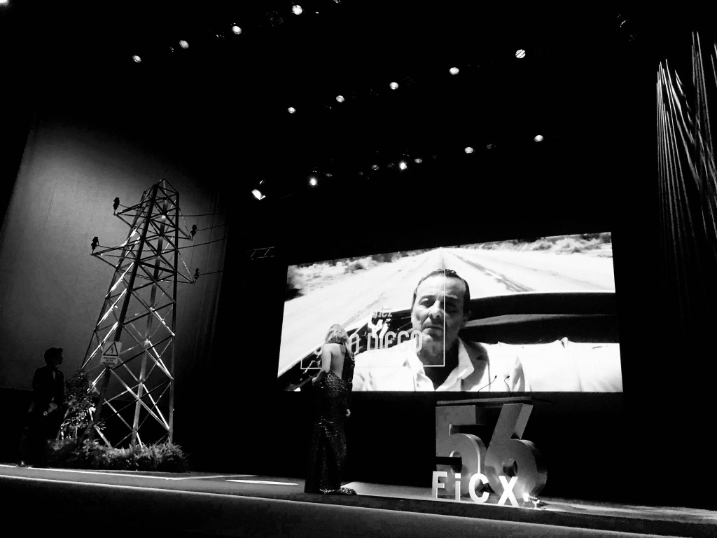 Repaso audiovisual de la trayectoria de Juan Diego durante la gala inaugural del 56 FICX. Fotografía: Merche Medina.