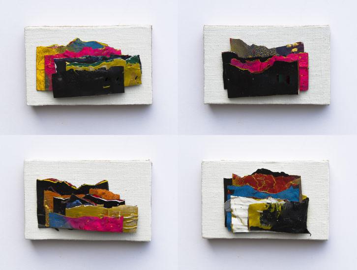 Víctor Alba. La estructura del Horizonte (1,10,6 y 11). 2018. Acrílico sobre lino 7 x 11 cm.