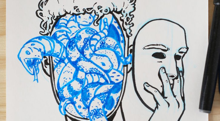"""Detalle de la ilustración """"Venenoso"""" de TheHugo. Fotografía cortesía del artista."""