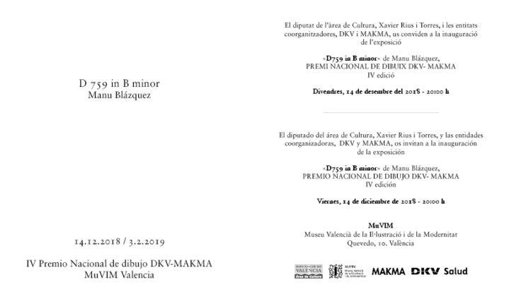 Invitaticón 29x17 IV premio nacional de dibujo DKV- MAKMA 07-12-18 03