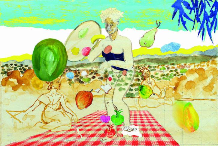 Imagen de una de las obras de Carlos Franco que forman parte de la exposición 'Pintura fruta'. Fotografía cortesía de Ana Serratosa.