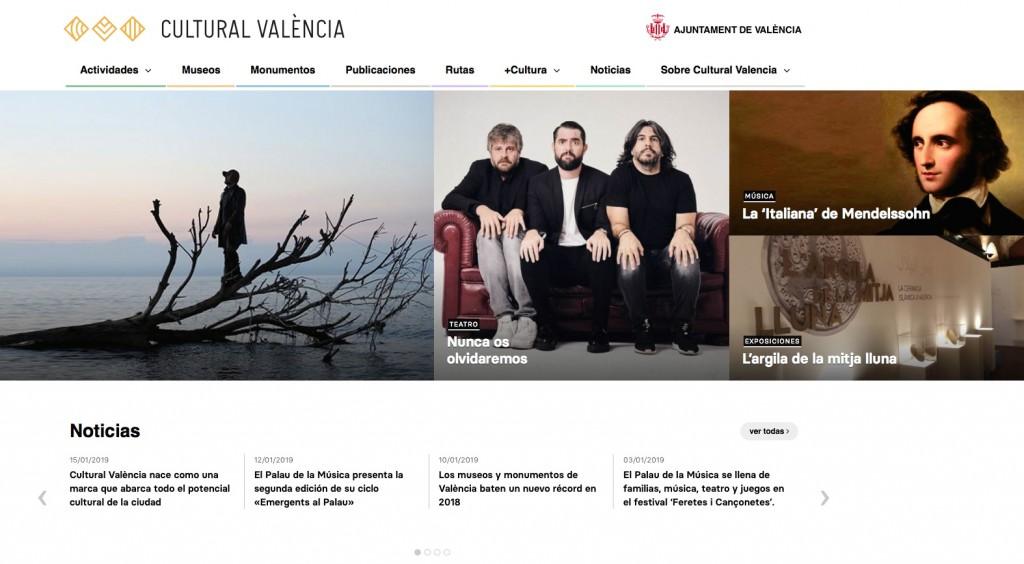 Imagen de la portada de la web Cultural València.