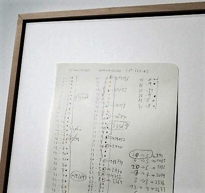 Detalle de la pieza que muestra el proceso de trabajo de Manu Blázquez sobre la Sinfonía Inacabada. Anotaciones, lápiz y bolígrafo sobre papel. Fotografía Biel Aliño.