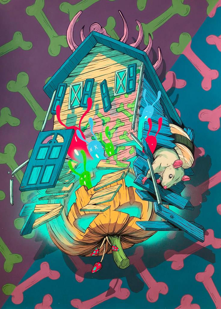 Imagen de la obra 'Creepy House', de Dhani Barragán, que forma parte de 'Real Fiction'. Fotografía cortesía de Plastic Murs.