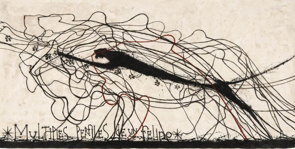 Imagen de la obra 'Múltiples Perfiles de Un Felino', de José Bedia. Fotografía cortesía de Galería Artizar.