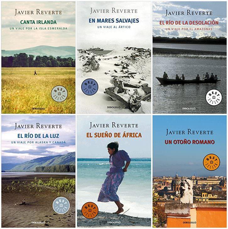Portadas de algunos de los títulos más significativos del escritor y periodista Javier Reverte.