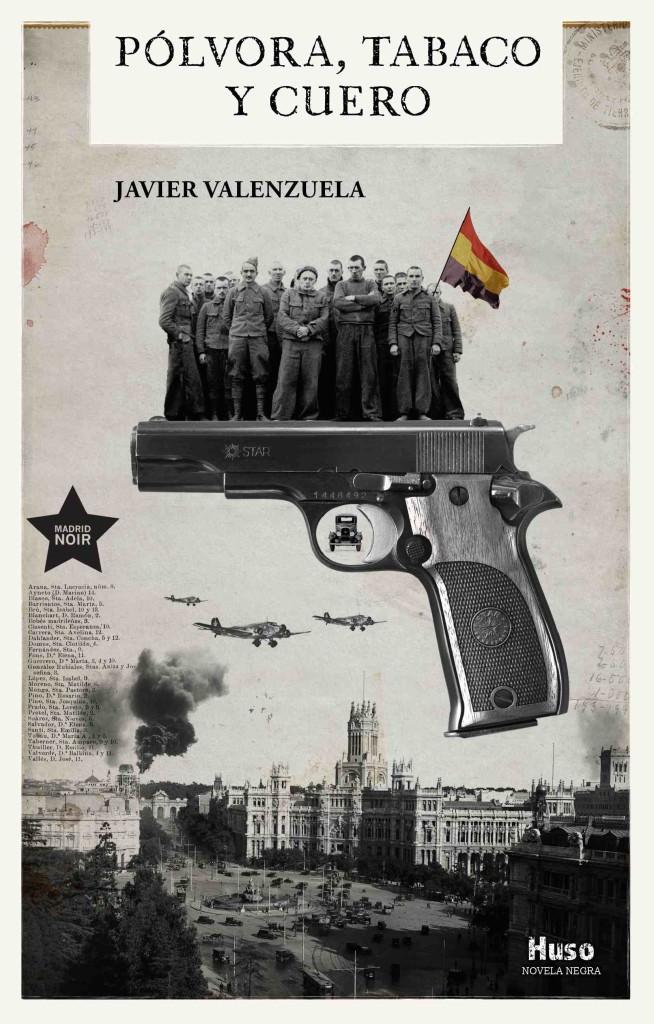 Cubierta de 'Pólvora, tabaco y cuero', de Javier Valenzuela (Huso, 2019), cuya portada y creatividades interiores han sido creadas por el artista valenciano Fernando García del Real.
