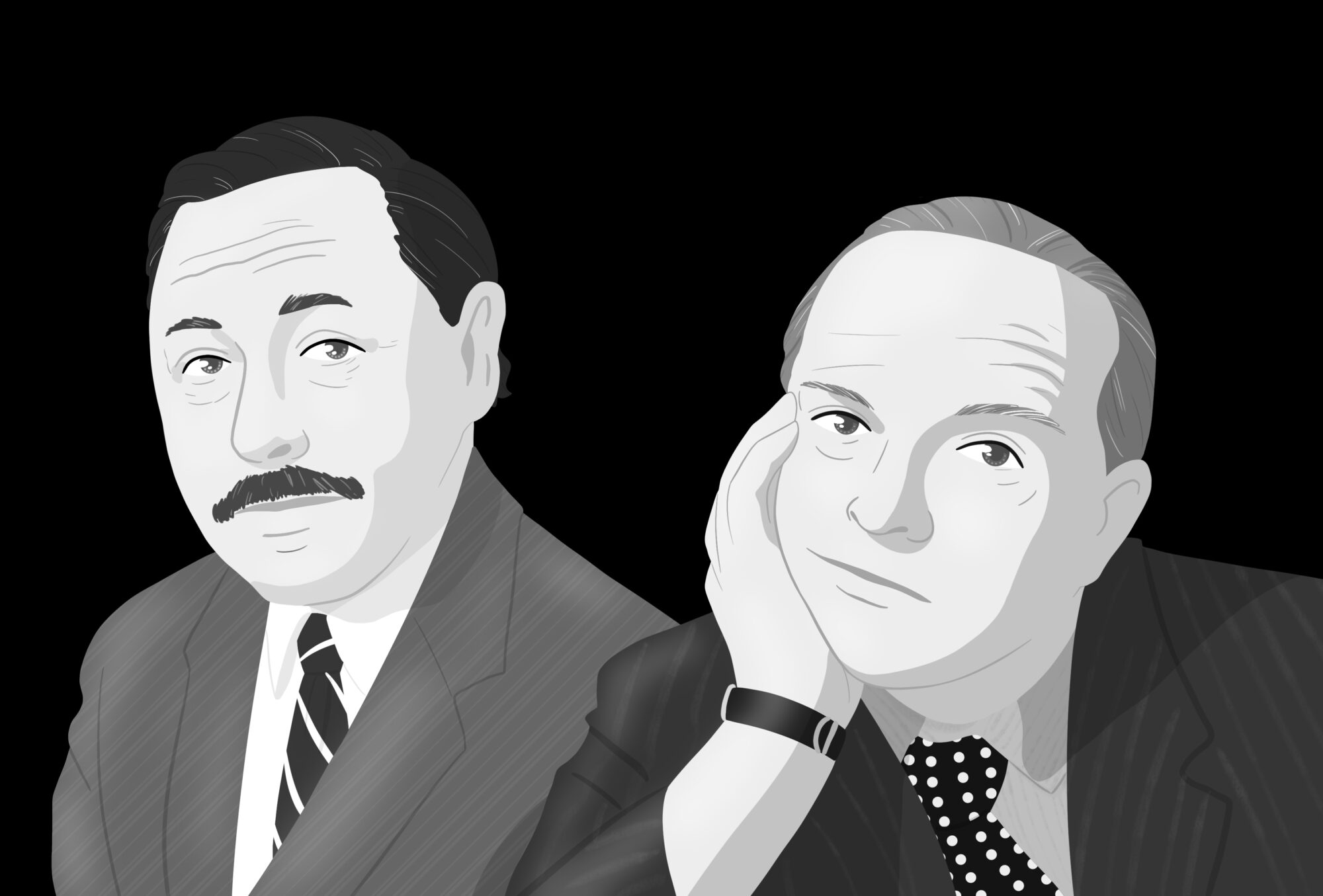 Tennessee Williams y Truman Capote. Ilustración de Kai Marrón.